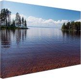 Zicht op het meer in de zomer Canvas 80x60 cm - Foto print op Canvas schilderij (Wanddecoratie)
