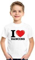 Wit I love dancing t-shirt kinderen L (146-152)