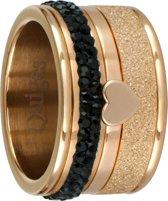 Quiges Stapelring Ring Set  - Dames - RVS roségoudkleurige - Maat 18 - Hoogte 10mm