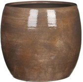 Mica Decorations - lester ronde pot donkerbruin - maat in cm: 26 x 28