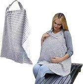 Borstvoedingsdoek - Windbeschermdoek - Voedingsdoek - Gestreept grijs wit