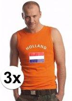 3x Koningsdag heren singlet shirts oranje maat M - Kingsdag kleding