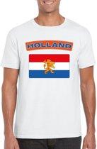 Nederland t-shirt met Nederlandse vlag wit heren L