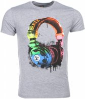 Mascherano T-shirt - Beatz Koptelefoon Print - Grijs - Maat: L