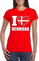 Rood I love Denemarken fan shirt dames XL