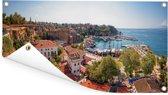 Panorama van de oude haven in de stad Antalya in Turkije Tuinposter 80x40 cm - klein - Tuindoek / Buitencanvas / Schilderijen voor buiten (tuin decoratie)