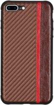 Carbon Design Backcover iPhone 8 Plus / 7 Plus hoesje - Bruin