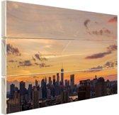 FotoCadeau.nl - Zonsondergang centrum Manhattan Hout 80x60 cm - Foto print op Hout (Wanddecoratie)