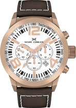 Marc Coblen  MC50R4- Horloge - 50 mm - Witte wijzerplaat - Bruine horlogeband