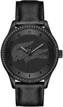 Lacoste dames horloge All Black LC2000823 - mat zwarte wijzerplaat met zirkonia - zwarte kalfsleren band - zwarte kast - 3 ATM - 40 mm