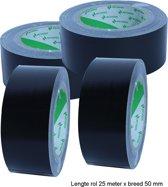 Duct tape zwart Nichiban L25m x B50mm per 4 stuks