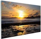 Zonsondergang in Azie  Glas 60x40 cm - Foto print op Glas (Plexiglas wanddecoratie)
