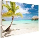 Palm en hutten op tropisch eiland Hout 80x60 cm - Foto print op Hout (Wanddecoratie) / Zee en Strand