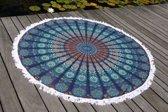 Bohemida Roundie - XL Blue Paradise Franjes - Strandlaken - 100 % Duurzaam Katoen