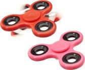 relaxdays 2 x Fidget Spinner - tri-spinner - hand spinner - antistress speelgoed rood roze
