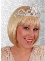Prinses tiara zilver voor dames - kroon/ diadeem/ tiara