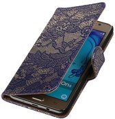 Samsung Galaxy On5 Hoesje Bloem Bookstyle Blauw