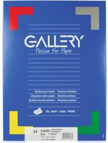 6x Gallery witte etiketten 70x37mm (bxh), rechte hoeken, doos a 2.400 etiketten