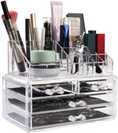 Deluxa Make-Up Organizer - 24 x 14 x 18 cm - Transparant Kunststof - Met Opbergladen