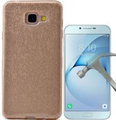 Teleplus Samsung Galaxy A810 2016 Silvery Custom Made Silicone Case Gold + Glass Screen Protector hoesje