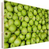 Veel groene appels Vurenhout met planken 120x80 cm - Foto print op Hout (Wanddecoratie)