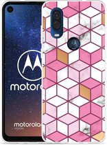 Motorola One Vision Hoesje Pink-gold-white Marble
