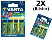 8 Stuks (2 blisters a 4stk) - Varta Oplaadbare Battery AA 2100mAh 56706