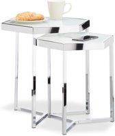 relaxdays Bijzettafel set van 2 - glazen salontafel - zeshoekig - metaal - zilver - chroom