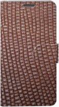 Echt leer Rood bruin, met een fijne blokprint hoesjes voor uw Samsung Galaxy S9 gemaakt in Nederland