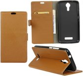 Litchi cover wallet case hoesje Alcatel One Touch Pop 4 bruin