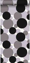 HD vliesbehang zwevende bollen zwart en grijs - 135448 ESTAhome.nl