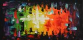 Schilderij abstract strepen 100x50 Artello - Handgeschilderd
