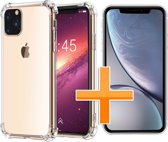 Apple iPhone 11 Pro Max Hoesje - Anti Shock Hybrid Case & Tempered Glass Combi - Transparant