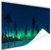 Noorderlicht achter bomen  Poster 60x40 cm - Foto print op Poster (wanddecoratie woonkamer / slaapkamer)