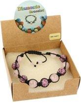 Roze kwarts shamballa armband - one-size - roze - One size