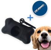 Zwarte Dispenser Hondenpoepzakjes met Hondenfluitje - Plastic Houder - Duurzame Hondenaccessoires