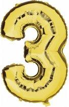 Cijfer 3 ballon goud
