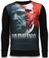 Local Fanatic El Padrino Two Faced - Digital Rhinestone Sweater - Zwart - Maten: XXL