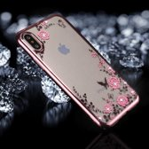 iPhone X / XS - hoes, cover, case - TPU - Transparant - Roze bloesem