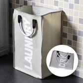 Draagbare Wasmand - Opvouwbare Wastas Met Aluminium Draaghendel - Ruimtebesparende Waszak Laundry Basket Bag - 40 Liter - Grijs