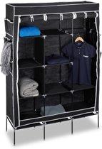 relaxdays opvouwbare kledingkast, stof, 10 grote vakken, beddengoed, kledingkast zwart