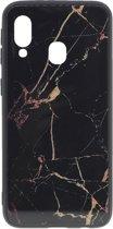 Shop4 - Samsung Galaxy A20e Hoesje - Harde Back Case Marmer Zwart
