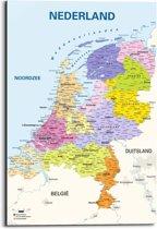Kaart van Nederland  - Schilderij 60 x 90 cm