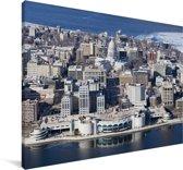 Een luchtfoto van de stad Madison in de Verenigde Staten in de winter Canvas 180x120 cm - Foto print op Canvas schilderij (Wanddecoratie woonkamer / slaapkamer) XXL / Groot formaat!