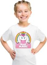 Miss Magic de eenhoorn t-shirt wit voor meisjes - eenhoorns shirt XS (110-116)