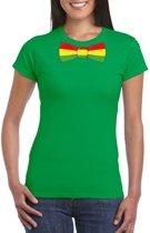 Groen t-shirt met Limburgse vlag strik voor dames L