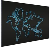 Wereldkaart blauw op zwart Aluminium 90x60