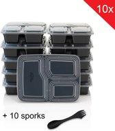 Meal Prep Bakjes 10 PACK + 10 SPORKS - 3 afgesloten compartimenten - Vershouddoos - Mealprep container met deksel - Lunchbox - Bento Lunch Box - 1000ml inhoud - BPA vrij - Qwality4u