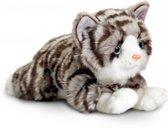 Keel Toys pluche grijze kat/poes knuffel 35 cm - knuffeldier / knuffels