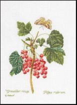 Thea Gouverneur Borduurpakket 2084 Rode Bessen - Linnen stof